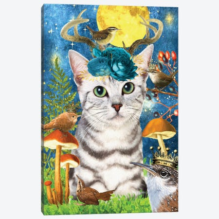Egyptian Mau Cat And Wren Canvas Print #NDG512} by Nobility Dogs Canvas Artwork