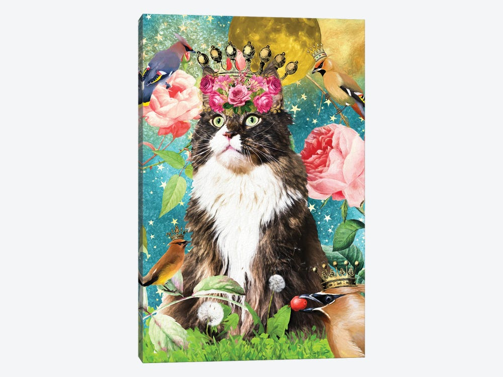 Maine Coon Cat And Waxwing by Nobility Dogs 1-piece Canvas Artwork