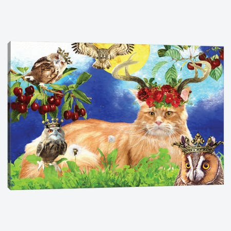 Maine Coon Cat And Owl Canvas Print #NDG514} by Nobility Dogs Art Print