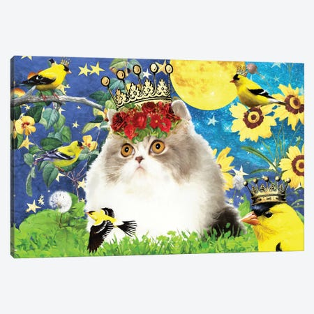Persian Cat And Goldfinch Canvas Print #NDG515} by Nobility Dogs Canvas Print
