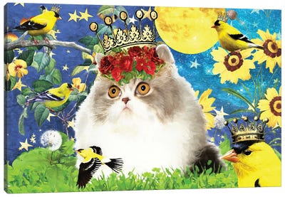Persian Cat And Goldfinch Canvas Art Print