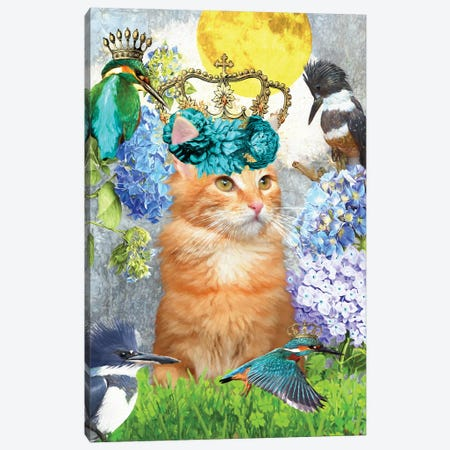 Red Tabby Cat And Kingfisher Canvas Print #NDG523} by Nobility Dogs Canvas Art Print