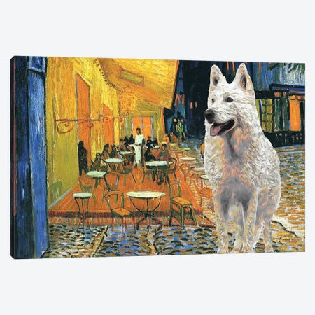 White Shepherd Cafe Terrace At Night Canvas Print #NDG526} by Nobility Dogs Canvas Art