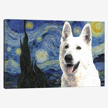 White Shepherd Starry Night Canvas Print #NDG528} by Nobility Dogs Canvas Print