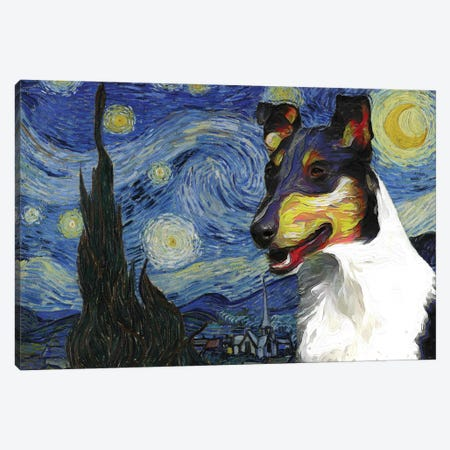 Smooth Collie The Starry Night Canvas Print #NDG538} by Nobility Dogs Canvas Art