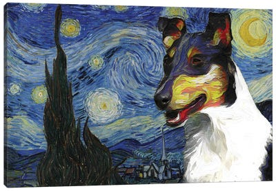 Smooth Collie The Starry Night Canvas Art Print