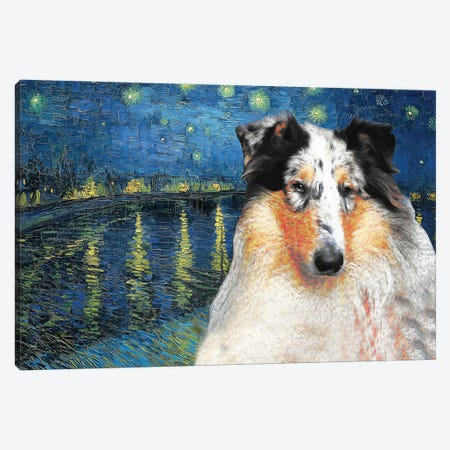 Rough Collie Starry Night Over The Rhone Canvas Print #NDG541} by Nobility Dogs Canvas Art Print
