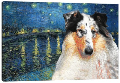 Rough Collie Starry Night Over The Rhone Canvas Art Print