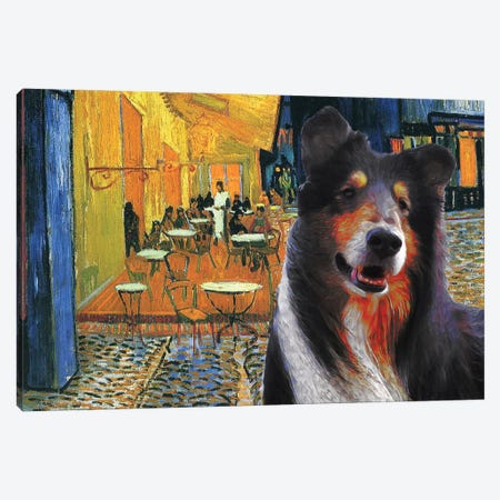 Rough Collie Cafe Terrace At Night Canvas Print #NDG542} by Nobility Dogs Canvas Art Print