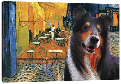 Rough Collie Cafe Terrace At Night Canvas Art Print