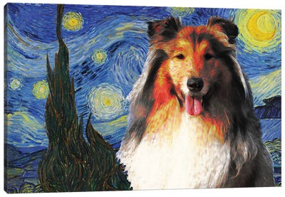Rough Collie The Starry Night Canvas Art Print
