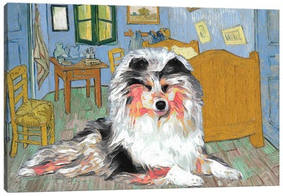 Rough Collie The Bedroom Canvas Art Print