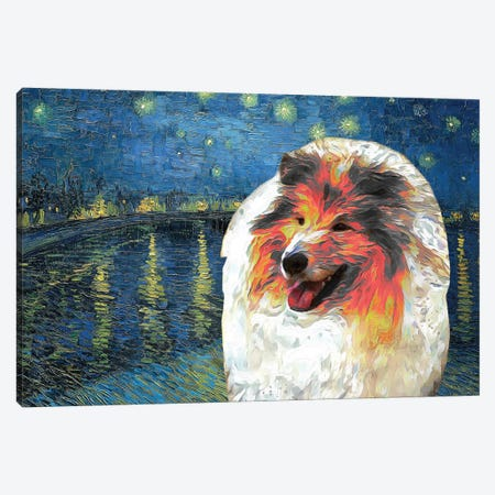 Sable Rough Collie Starry Night Over The Rhone Canvas Print #NDG547} by Nobility Dogs Canvas Wall Art