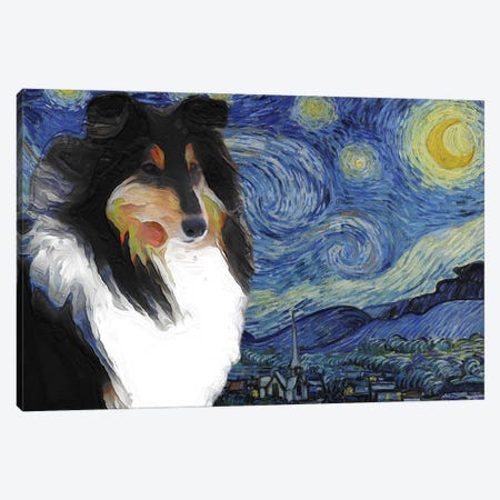 Tricolor Rough Collie The Starry Night Canvas Print #NDG548} by Nobility Dogs Canvas Art Print