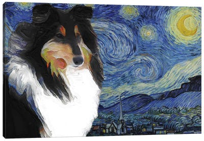 Tricolor Rough Collie The Starry Night Canvas Art Print