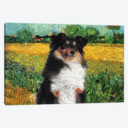Shetland Sheepdog Sheltie View Of Arles With Irises Canvas Print #NDG549} by Nobility Dogs Canvas Art Print
