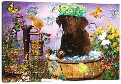 Choco Labrador Retriever Wash Your Paws Canvas Art Print