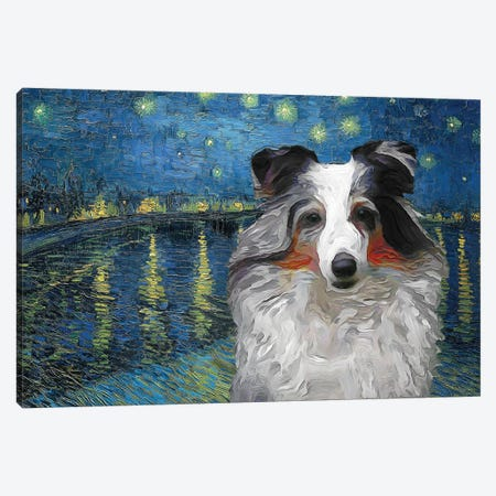 Shetland Sheepdog Blue Merle Sheltie Starry Night Over The Rhone Canvas Print #NDG550} by Nobility Dogs Canvas Art