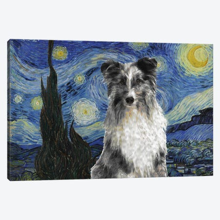 Shetland Sheepdog Sheltie Blue Merle The Starry Night Canvas Print #NDG551} by Nobility Dogs Canvas Art