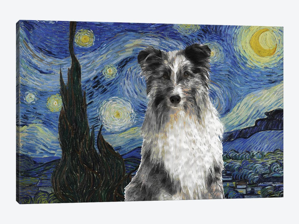 Shetland Sheepdog Sheltie Blue Merle The Starry Night by Nobility Dogs 1-piece Canvas Art