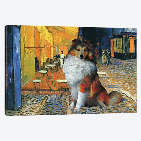 Shetland Sheepdog Sheltie Café Terrace At Night Canvas Print #NDG552} by Nobility Dogs Canvas Wall Art