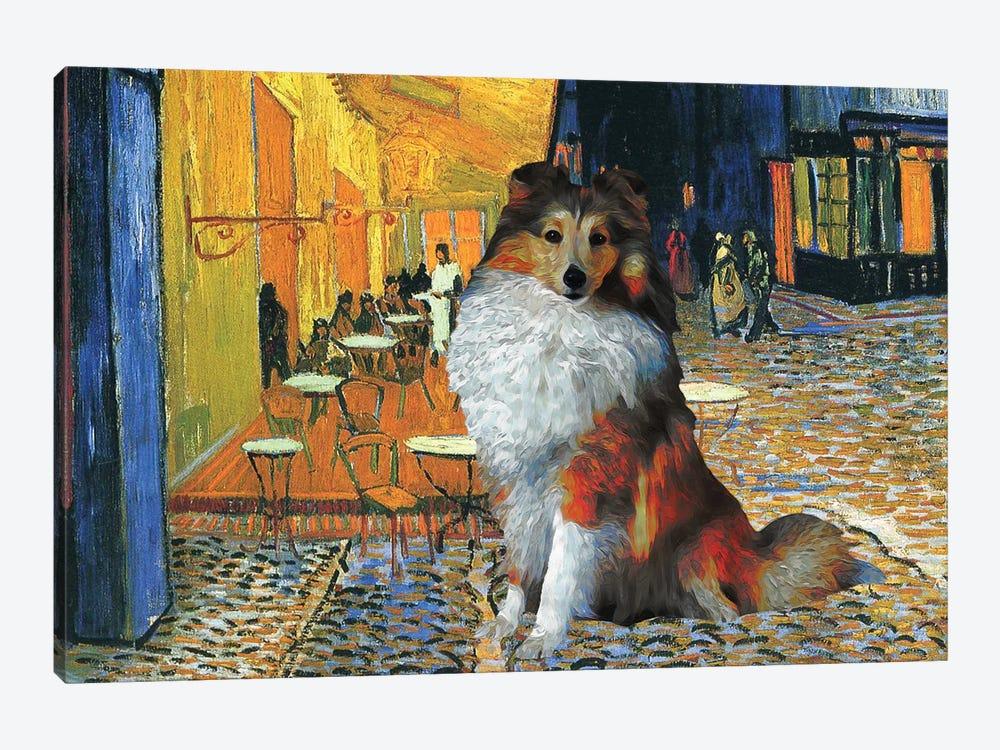 Shetland Sheepdog Sheltie Café Terrace At Night by Nobility Dogs 1-piece Art Print