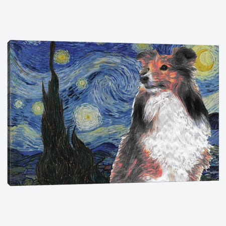Shetland Sheepdog Sheltie The Starry Night Canvas Print #NDG553} by Nobility Dogs Canvas Wall Art