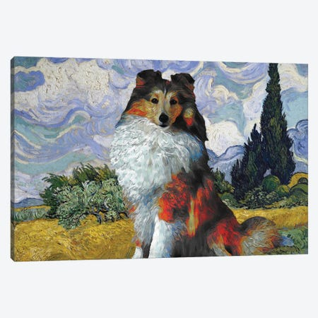 Shetland Sheepdog Sheltie Wheat Field With Cypresses Canvas Print #NDG554} by Nobility Dogs Art Print