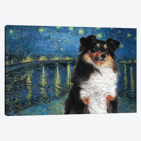 Shetland Sheepdog Tri Color Sheltie Starry Night Over The Rhone Canvas Print #NDG555} by Nobility Dogs Art Print