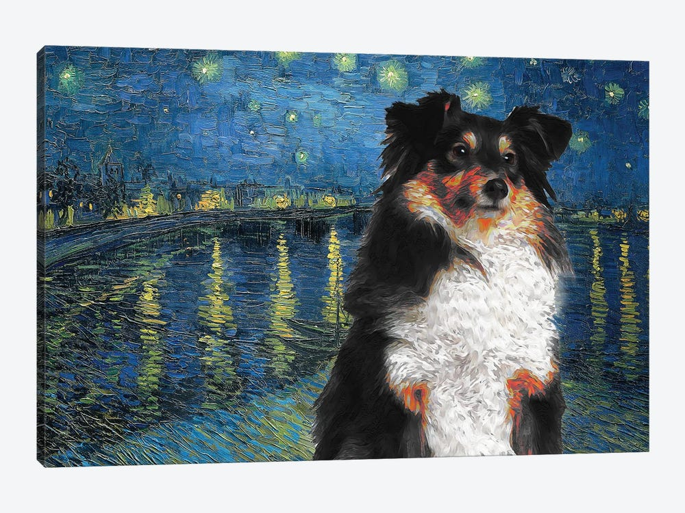 Shetland Sheepdog Tri Color Sheltie Starry Night Over The Rhone by Nobility Dogs 1-piece Canvas Artwork
