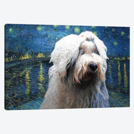 Old English Sheepdog Starry Night Over The Rhone Canvas Print #NDG561} by Nobility Dogs Canvas Print