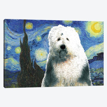 Old English Sheepdog Starry Night Canvas Print #NDG562} by Nobility Dogs Canvas Print
