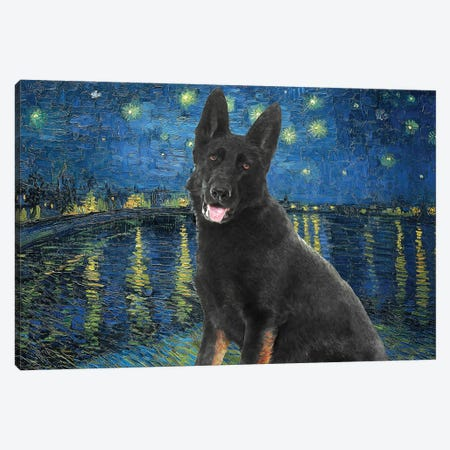 Black German Shepherd Starry Night Over The Rhone Canvas Print #NDG564} by Nobility Dogs Canvas Art