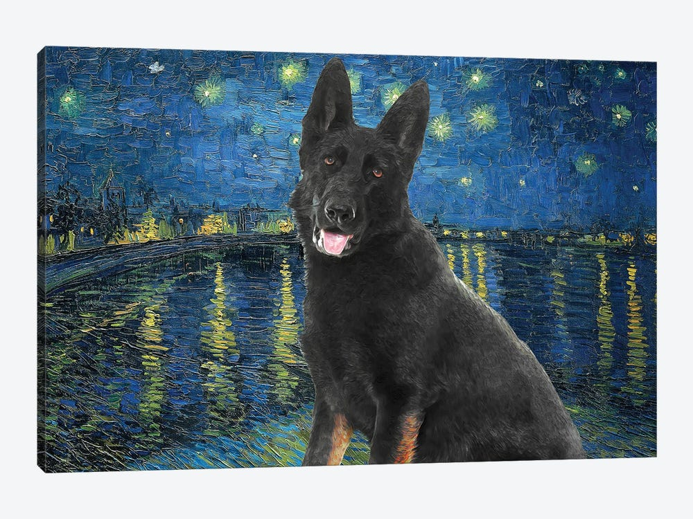 Black German Shepherd Starry Night Over The Rhone by Nobility Dogs 1-piece Canvas Artwork