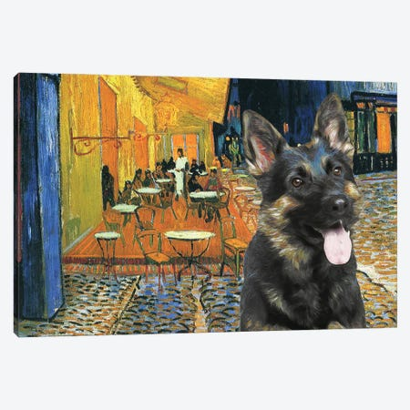 German Shepherd Cafe Terrace At Night Canvas Print #NDG565} by Nobility Dogs Canvas Artwork
