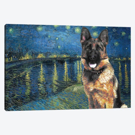 German Shepherd Starry Night Over The Rhone Canvas Print #NDG566} by Nobility Dogs Canvas Art