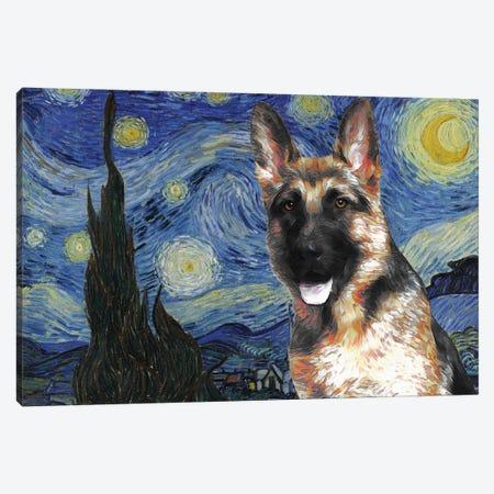 German Shepherd Starry Night Canvas Print #NDG567} by Nobility Dogs Canvas Artwork