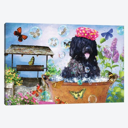 Portuguese Water Dog Wash Your Paws Canvas Print #NDG56} by Nobility Dogs Canvas Art