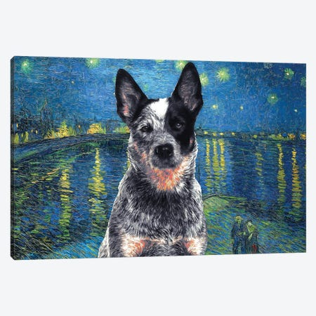 Australian Cattle Dog Blue Heeler Starry Night Over The Rhone Canvas Print #NDG576} by Nobility Dogs Art Print