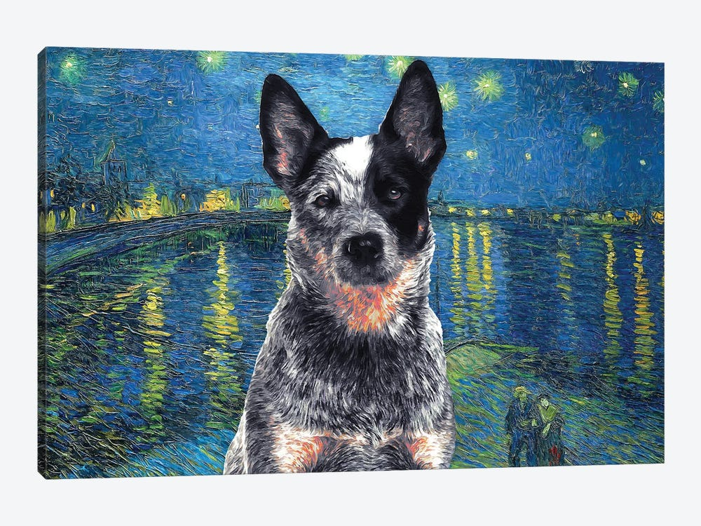 Australian Cattle Dog Blue Heeler Starry Night Over The Rhone by Nobility Dogs 1-piece Art Print