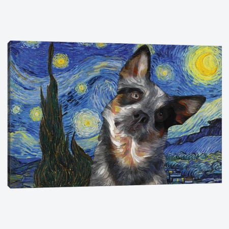 Australian Cattle Dog Blue Heeler Starry Night Canvas Print #NDG577} by Nobility Dogs Canvas Art Print