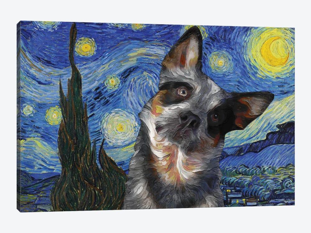 Australian Cattle Dog Blue Heeler Starry Night by Nobility Dogs 1-piece Canvas Art