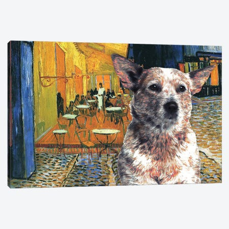 Australian Cattle Dog Red Heeler Cafe Terrace Canvas Print #NDG578} by Nobility Dogs Canvas Artwork