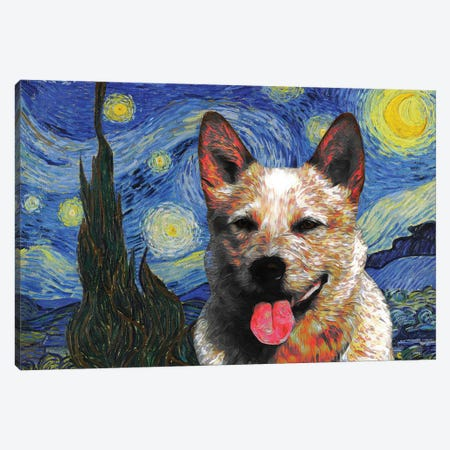 Australian Cattle Dog Red Heeler Starry Night Canvas Print #NDG579} by Nobility Dogs Canvas Wall Art