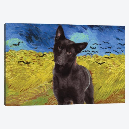 Australian Kelpie Wheatfield With Crows Canvas Print #NDG581} by Nobility Dogs Canvas Print