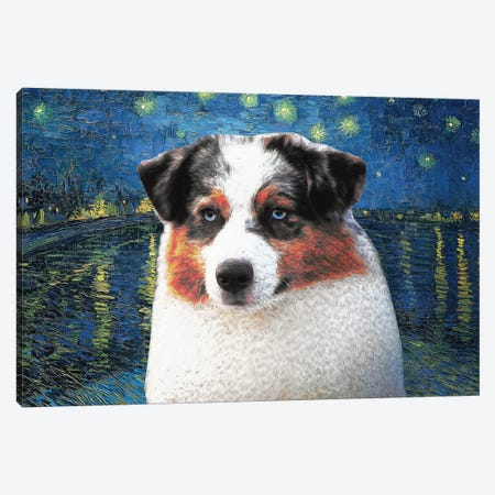 Australian Shepherd Blue Merle Aussie Starry Night Over The Rhone Canvas Print #NDG582} by Nobility Dogs Canvas Art Print