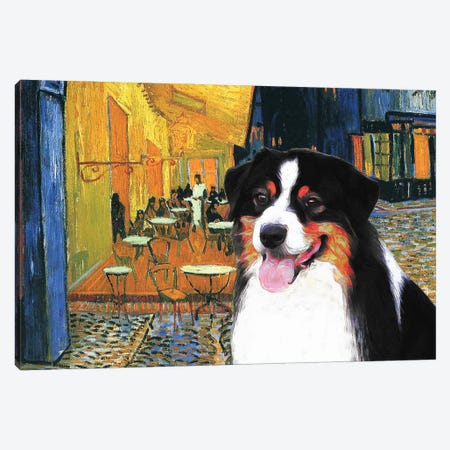 Australian Shepherd Aussie Cafe Terrace At Night Canvas Print #NDG583} by Nobility Dogs Canvas Print