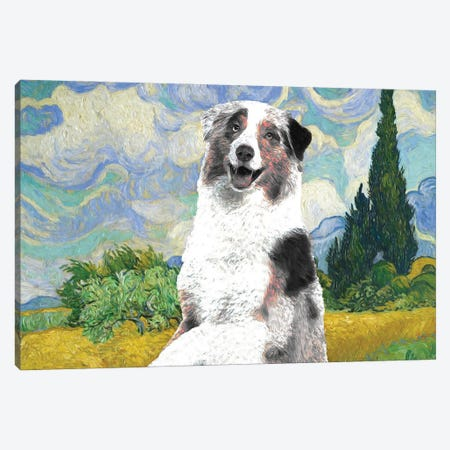Australian Shepherd Aussie Wheat Field With Cypresses Canvas Print #NDG585} by Nobility Dogs Canvas Wall Art