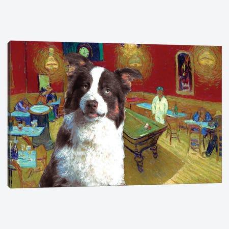 Australian Shepherd Aussie The Night Café Canvas Print #NDG586} by Nobility Dogs Canvas Wall Art
