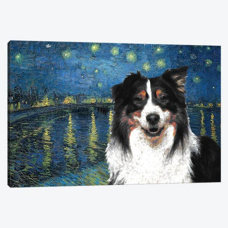 Australian Shepherd Aussie Starry Night Over The Rhone Canvas Print #NDG587} by Nobility Dogs Canvas Art